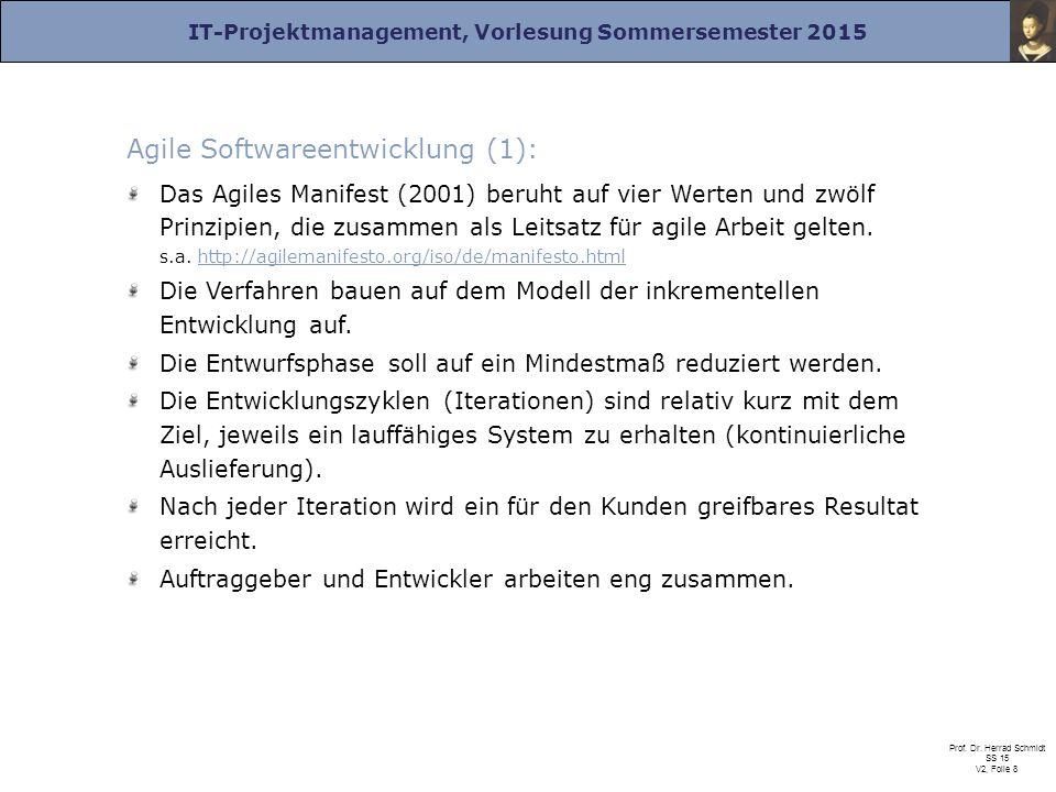 IT-Projektmanagement, Vorlesung Sommersemester 2015 Prof. Dr. Herrad Schmidt SS 15 V2, Folie 8 Agile Softwareentwicklung (1): Das Agiles Manifest (200