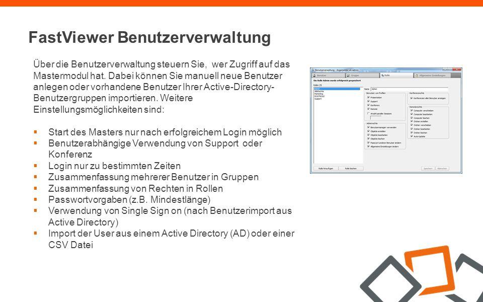 FastViewer Server Lizenz Die FastViewer-eigene Serverlösung  Der FastViewer Server wird nahtlos in Ihre Infrastruktur integriert, der Betrieb erfolgt im Intranet oder in der demilitarisierten Zone (DMZ).
