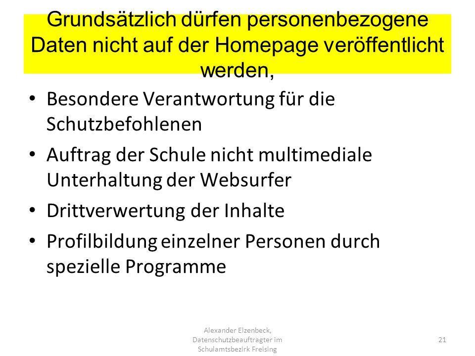 Grundsätzlich dürfen personenbezogene Daten nicht auf der Homepage veröffentlicht werden, Alexander Elzenbeck, Datenschutzbeauftragter im Schulamtsbez