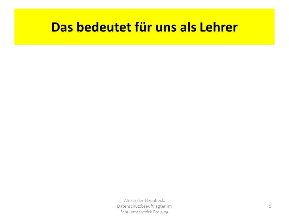 Das bedeutet für uns als Lehrer Alexander Elzenbeck, Datenschutzbeauftragter im Schulamtsbezirk Freising 9