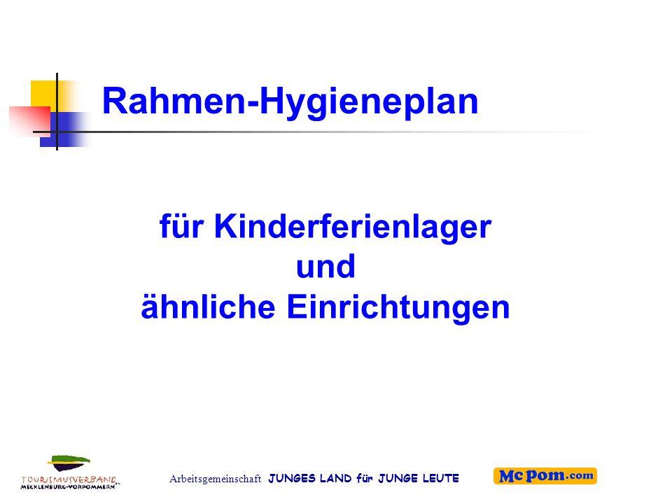 Arbeitsgemeinschaft JUNGES LAND für JUNGE LEUTE Weitere Hygieneanforderungen (3) Umgang mit Lebensmitteln:  Eigener Hygieneplan  Anforderungen ans Personal  Strikte Einhaltung von Kühlketten bzw.