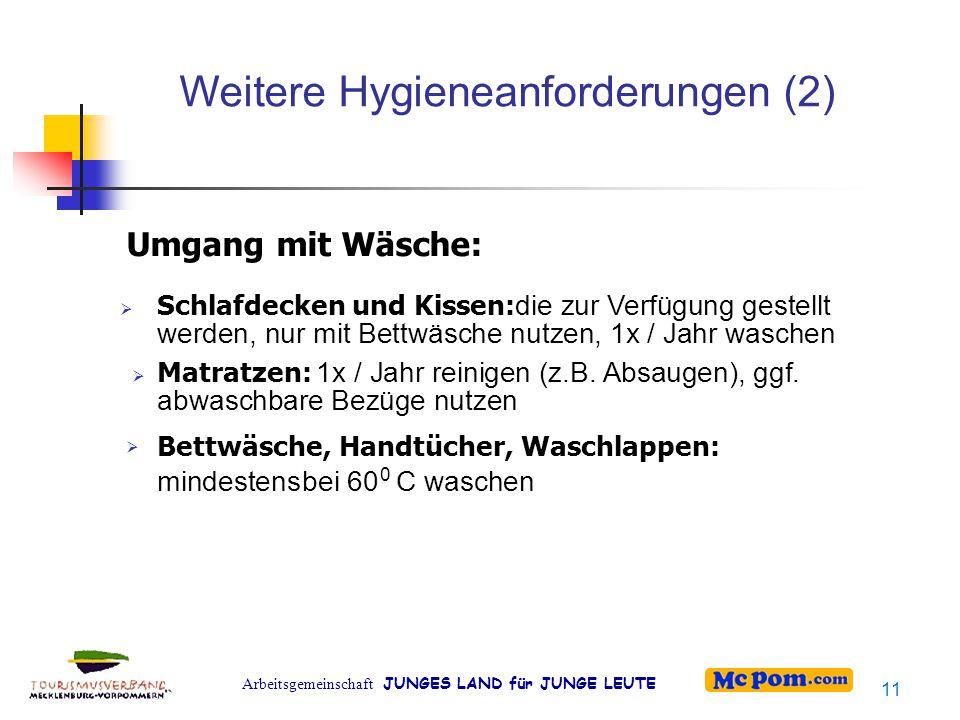 Arbeitsgemeinschaft JUNGES LAND für JUNGE LEUTE Weitere Hygieneanforderungen (2) Umgang mit Wäsche:    Schlafdecken und Kissen: die zur Verfügung g