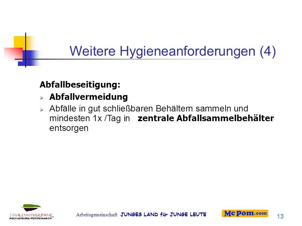 Arbeitsgemeinschaft JUNGES LAND für JUNGE LEUTE Weitere Hygieneanforderungen (4) Abfallbeseitigung:  Abfallvermeidung  Abfälle in gut schließbaren B