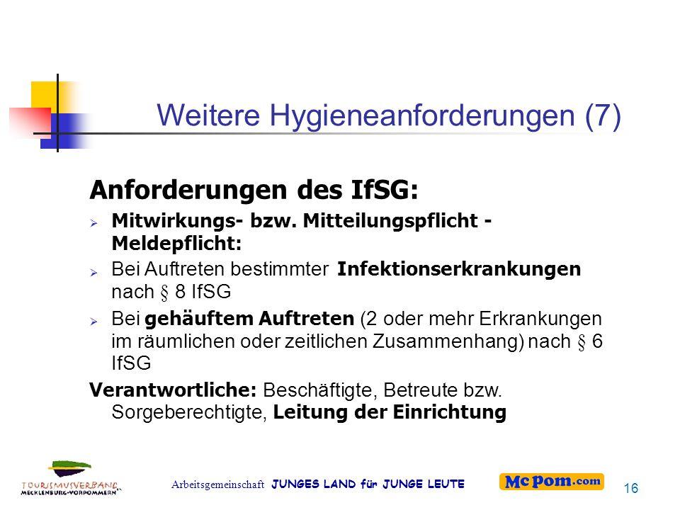 Arbeitsgemeinschaft JUNGES LAND für JUNGE LEUTE Weitere Hygieneanforderungen (7) Anforderungen des IfSG:    Mitwirkungs- bzw. Mitteilungspflicht -