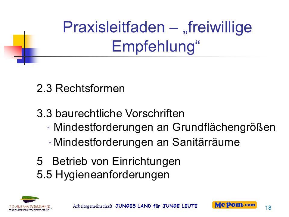 """Arbeitsgemeinschaft JUNGES LAND für JUNGE LEUTE Empfehlung"""" Praxisleitfaden – """"freiwillige 2.3 Rechtsformen 3.3 baurechtliche Vorschriften - Mindestfo"""