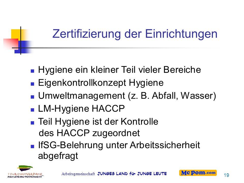 Arbeitsgemeinschaft JUNGES LAND für JUNGE LEUTE Zertifizierung der Einrichtungen Hygiene ein kleiner Teil vieler Bereiche Eigenkontrollkonzept Hygiene