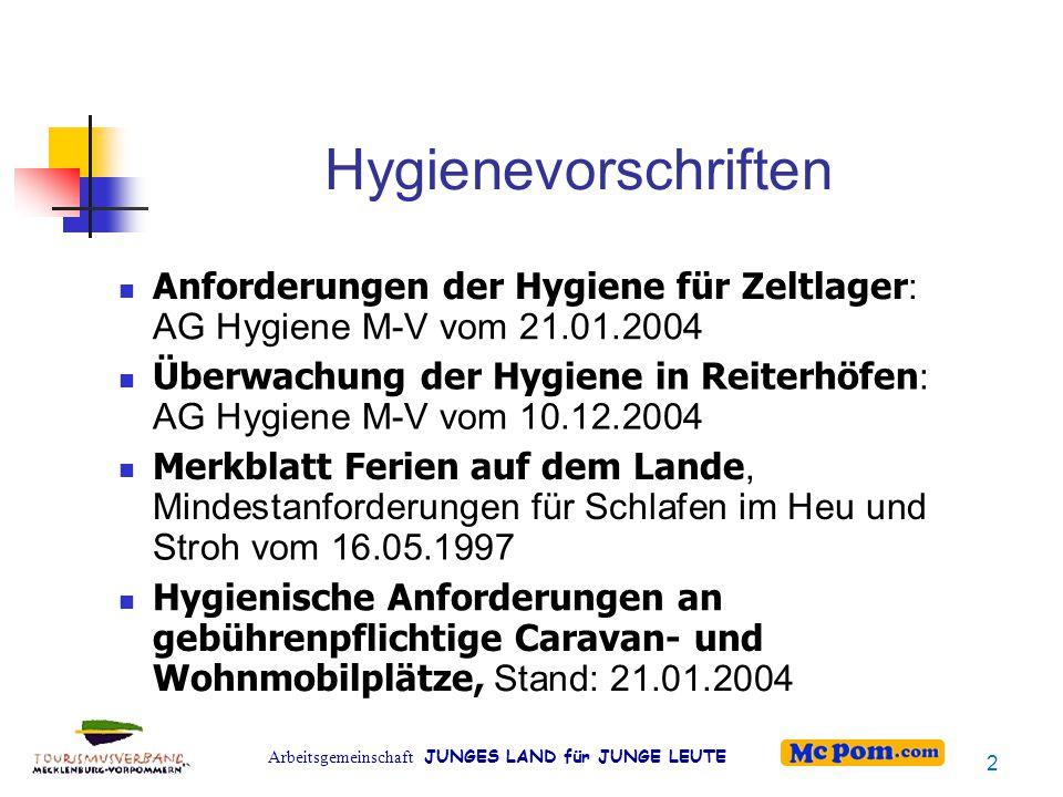 Arbeitsgemeinschaft JUNGES LAND für JUNGE LEUTE Hygienevorschriften Anforderungen der Hygiene für Zeltlager : AG Hygiene M-V vom 21.01.2004 Überwachun