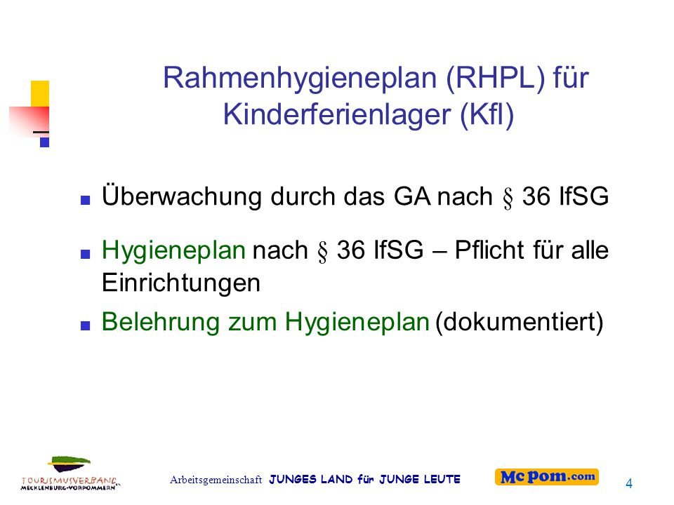 Arbeitsgemeinschaft JUNGES LAND für JUNGE LEUTE Rahmenhygieneplan (RHPL) für Kinderferienlager (Kfl) Überwachung durch das GA nach § 36 IfSG Hygieneplannach § 36 IfSG – Pflicht für alle Einrichtungen Belehrung zum Hygieneplan(dokumentiert) 4