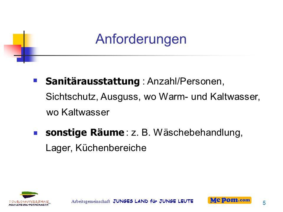 Arbeitsgemeinschaft JUNGES LAND für JUNGE LEUTE Anforderungen Sanitärausstattung : Anzahl/Personen, Sichtschutz, Ausguss, wo Warm- und Kaltwasser, wo