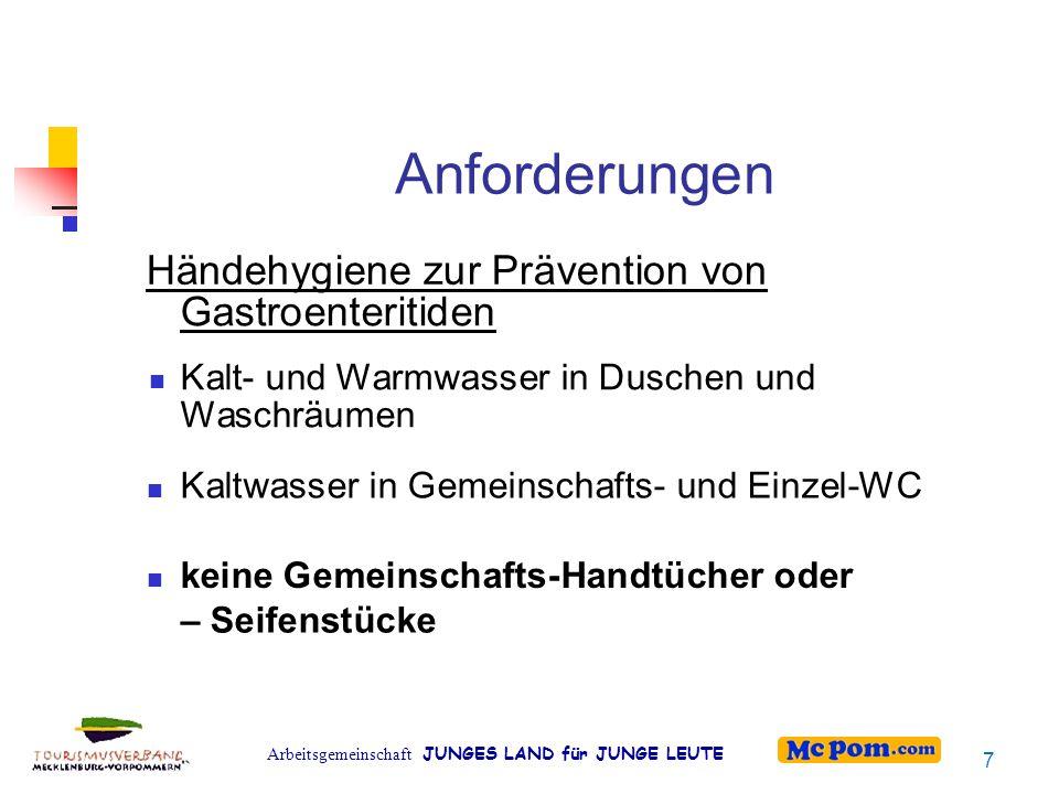 Arbeitsgemeinschaft JUNGES LAND für JUNGE LEUTE Voraussetzungen für das Händewaschen nach Verschmutzung : HW-Möglichkeit in Waschräumen und/oder im Wohnbereich, Duschen nach Toilettenbenutzung : HW-Möglichkeit in Gemeinschafts- oder Einzel-WC 8