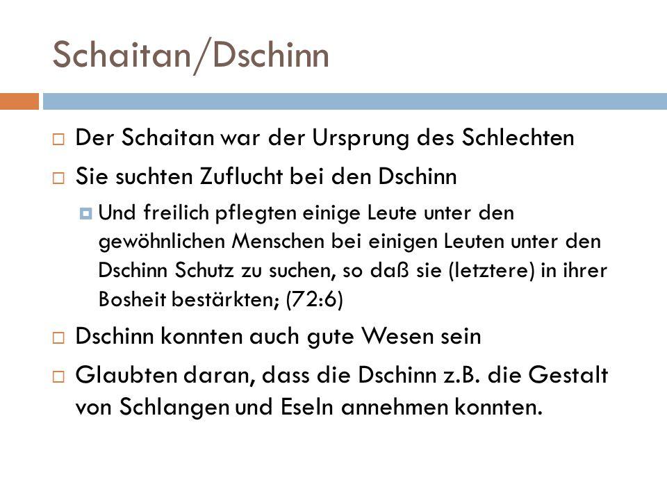 Schaitan/Dschinn  Der Schaitan war der Ursprung des Schlechten  Sie suchten Zuflucht bei den Dschinn  Und freilich pflegten einige Leute unter den