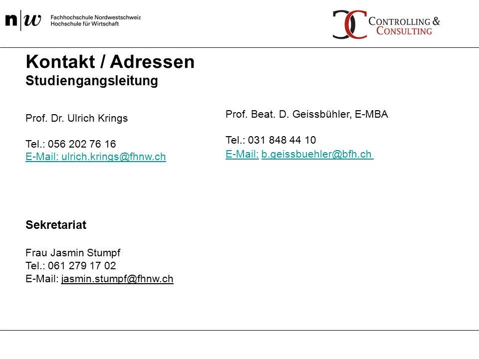Kontakt / Adressen Studiengangsleitung Sekretariat Frau Jasmin Stumpf Tel.: 061 279 17 02 E-Mail: jasmin.stumpf@fhnw.ch Prof. Dr. Ulrich Krings Tel.: