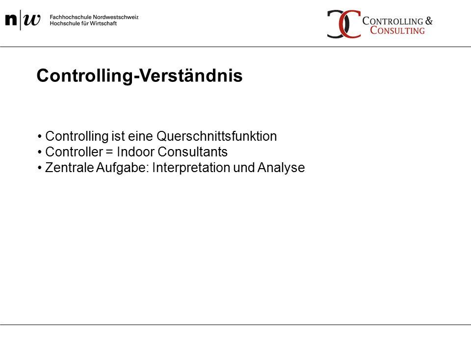 Controlling ist eine Querschnittsfunktion Controller = Indoor Consultants Zentrale Aufgabe: Interpretation und Analyse Controlling-Verständnis
