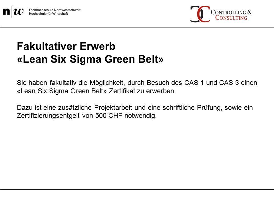 Sie haben fakultativ die Möglichkeit, durch Besuch des CAS 1 und CAS 3 einen «Lean Six Sigma Green Belt» Zertifikat zu erwerben.