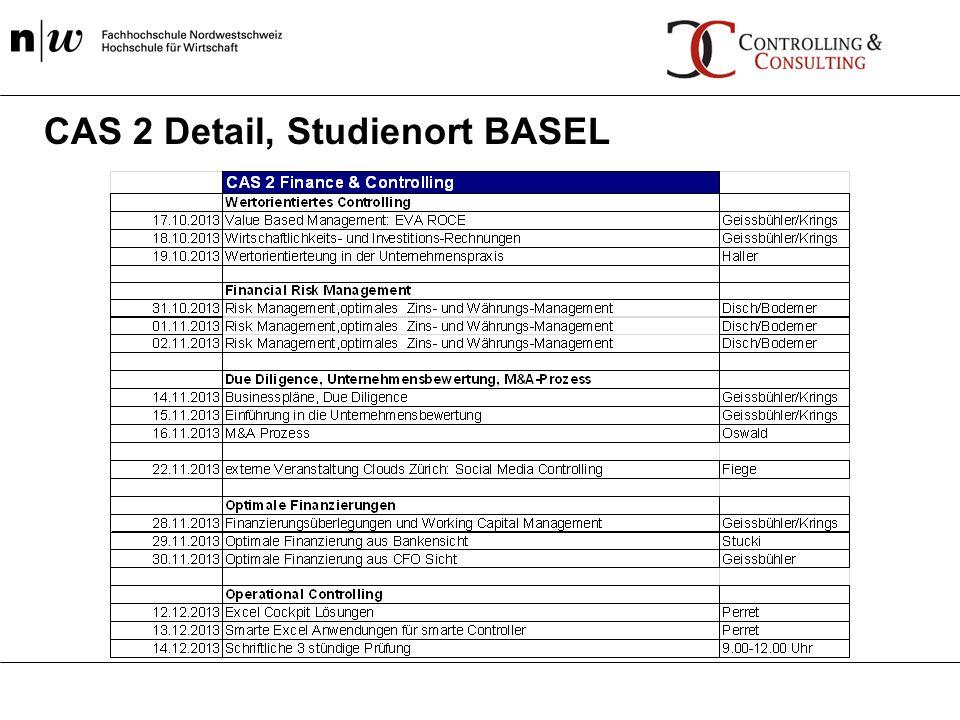 CAS 2 Detail, Studienort BASEL