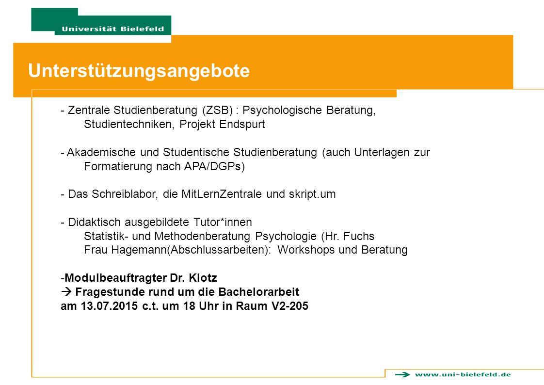 - Zentrale Studienberatung (ZSB) : Psychologische Beratung, Studientechniken, Projekt Endspurt - Akademische und Studentische Studienberatung (auch Un