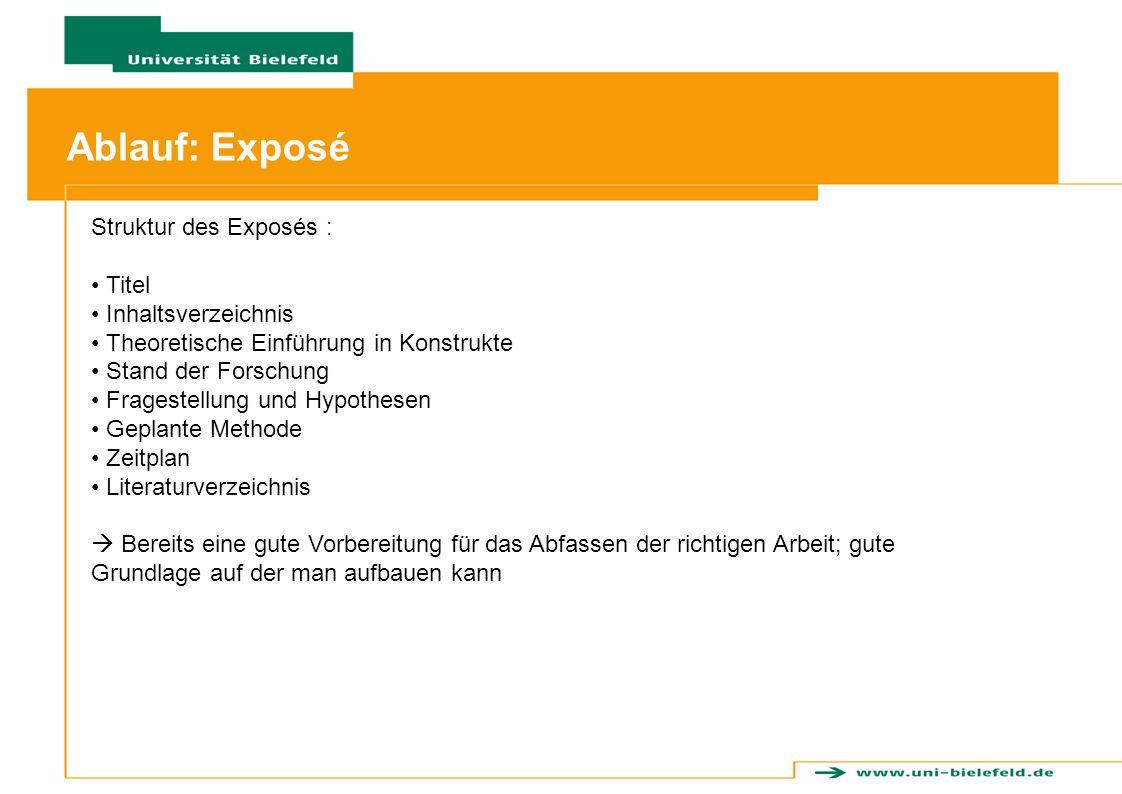 Ablauf: Ablauf: Exposé Struktur des Exposés : Titel Inhaltsverzeichnis Theoretische Einführung in Konstrukte Stand der Forschung Fragestellung und Hyp