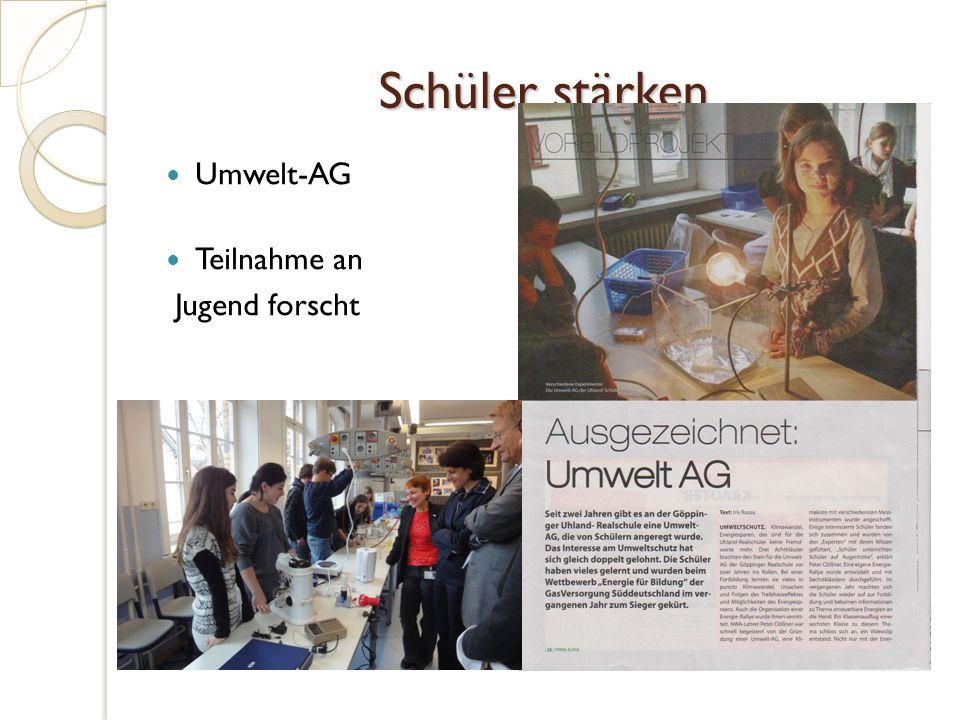 Umwelt-AG Teilnahme an Jugend forscht