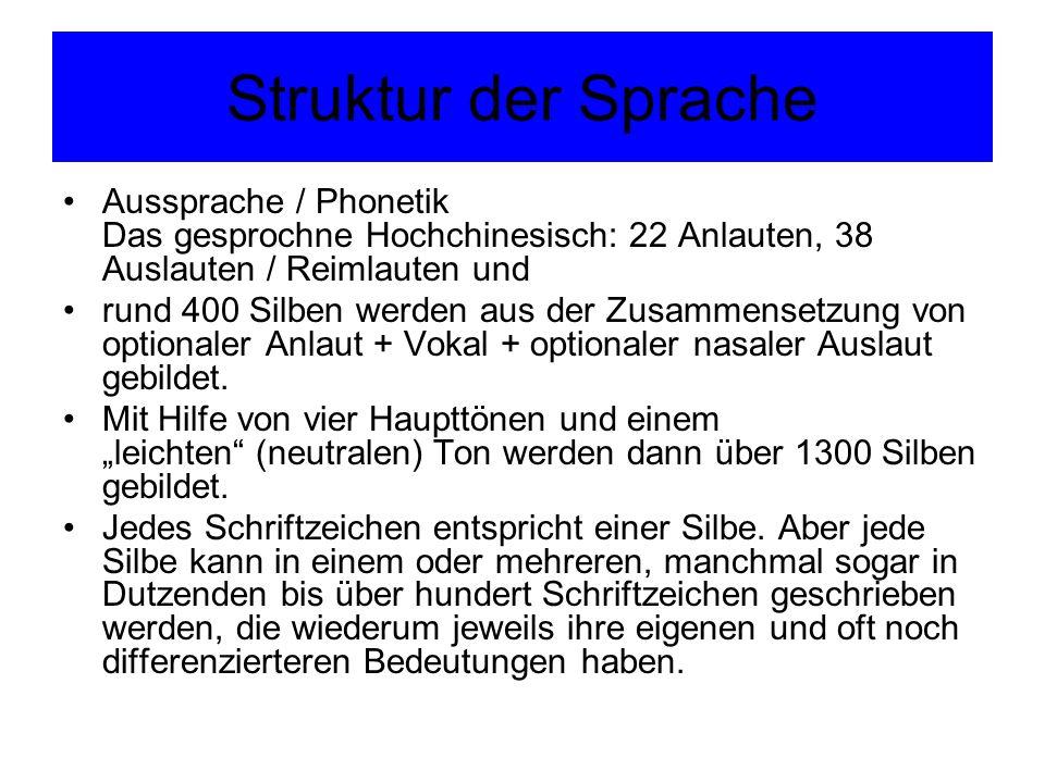 Struktur der Sprache Aussprache / Phonetik Das gesprochne Hochchinesisch: 22 Anlauten, 38 Auslauten / Reimlauten und rund 400 Silben werden aus der Zu