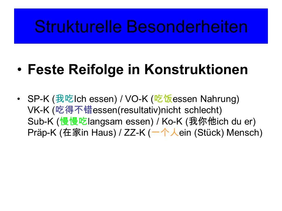 Strukturelle Besonderheiten Feste Reifolge in Konstruktionen SP-K ( 我吃 Ich essen) / VO-K ( 吃饭 essen Nahrung) VK-K ( 吃得不错 essen(resultativ)nicht schlec