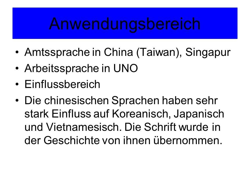 Anwendungsbereich Amtssprache in China (Taiwan), Singapur Arbeitssprache in UNO Einflussbereich Die chinesischen Sprachen haben sehr stark Einfluss au