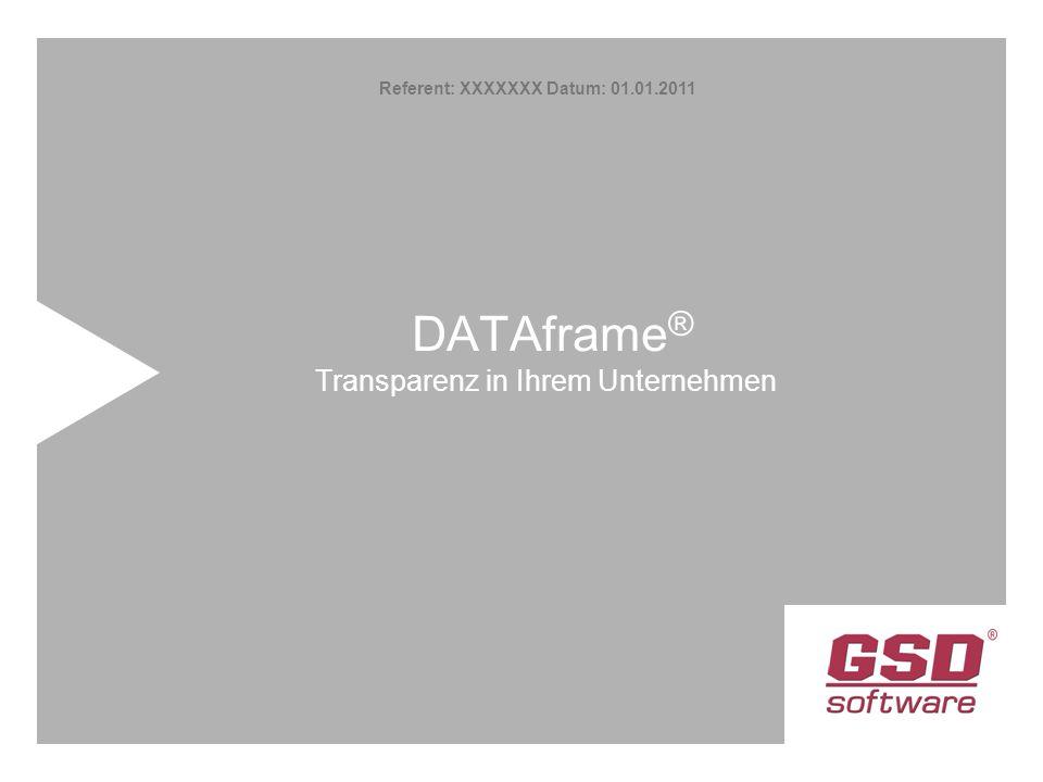 DATAframe ® Transparenz in Ihrem Unternehmen Referent: XXXXXXX Datum: 01.01.2011