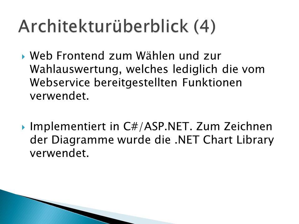 Web Frontend zum Wählen und zur Wahlauswertung, welches lediglich die vom Webservice bereitgestellten Funktionen verwendet.