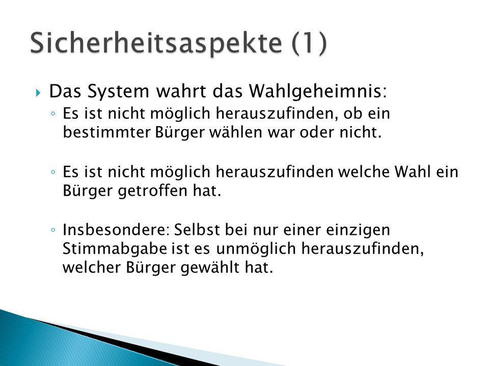  Das System wahrt das Wahlgeheimnis: ◦ Es ist nicht möglich herauszufinden, ob ein bestimmter Bürger wählen war oder nicht.