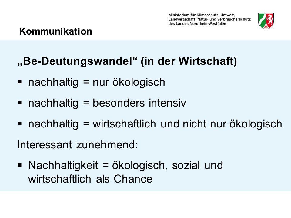 """Kommunikation """"Be-Deutungswandel"""" (in der Wirtschaft)  nachhaltig = nur ökologisch  nachhaltig = besonders intensiv  nachhaltig = wirtschaftlich un"""