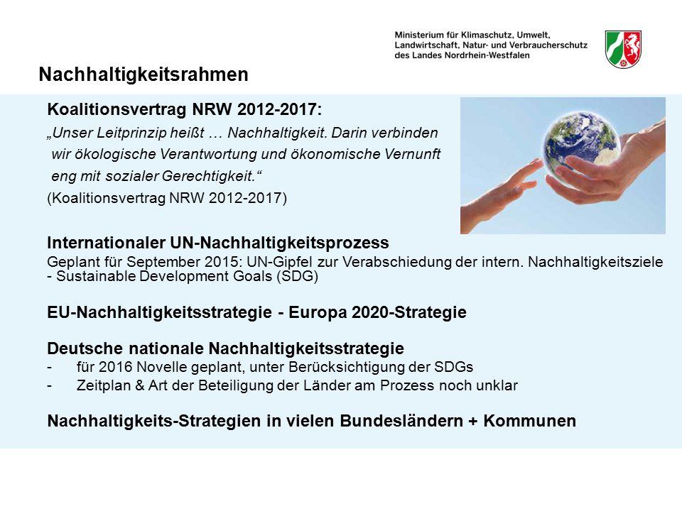 """Nachhaltigkeitsrahmen Koalitionsvertrag NRW 2012-2017: """"Unser Leitprinzip heißt … Nachhaltigkeit. Darin verbinden wir ökologische Verantwortung und ök"""