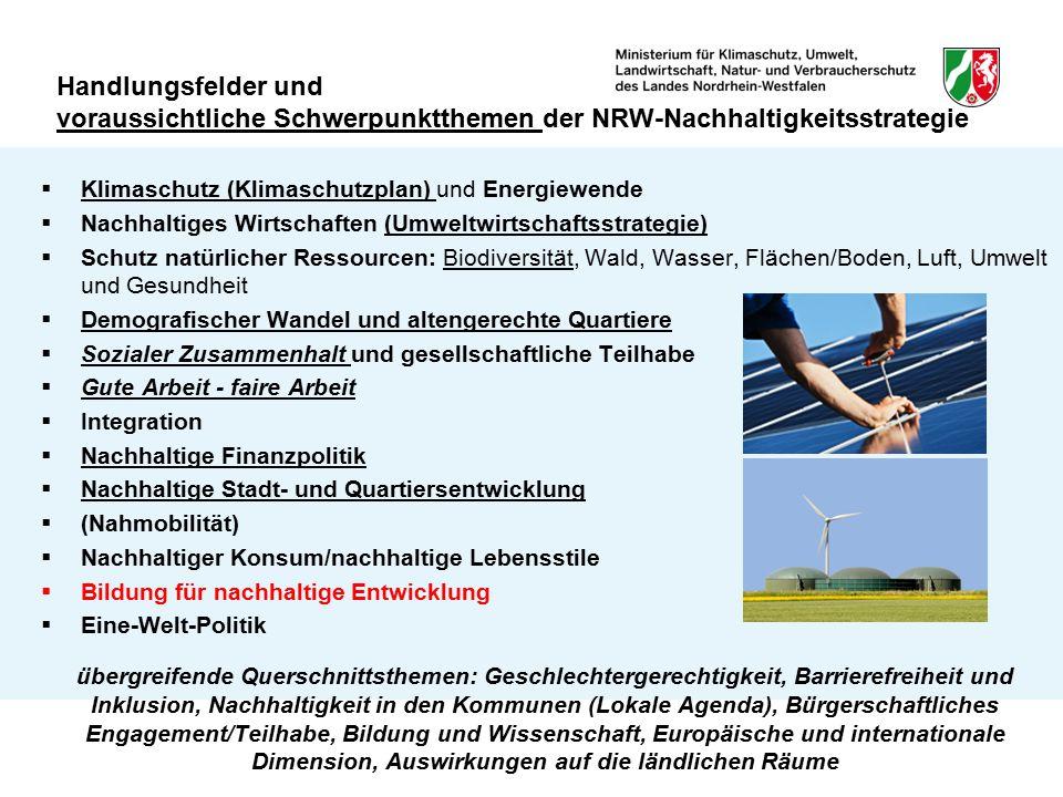 Handlungsfelder und voraussichtliche Schwerpunktthemen der NRW-Nachhaltigkeitsstrategie  Klimaschutz (Klimaschutzplan) und Energiewende  Nachhaltige