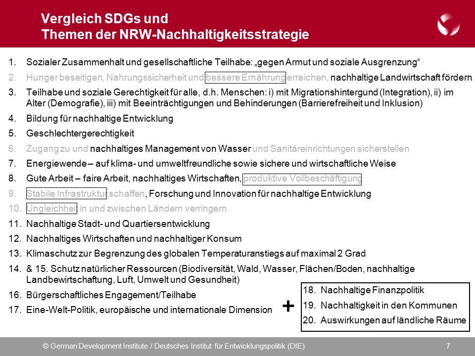 © German Development Institute / Deutsches Institut für Entwicklungspolitik (DIE)7 Vergleich SDGs und Themen der NRW-Nachhaltigkeitsstrategie 1.Sozial