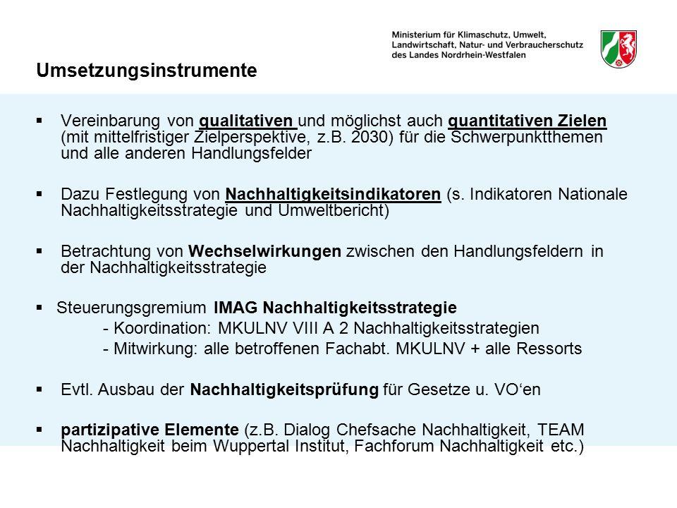 Umsetzungsinstrumente  Vereinbarung von qualitativen und möglichst auch quantitativen Zielen (mit mittelfristiger Zielperspektive, z.B. 2030) für die