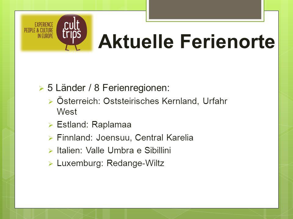 Aktuelle Ferienorte  5 Länder / 8 Ferienregionen:  Österreich: Oststeirisches Kernland, Urfahr West  Estland: Raplamaa  Finnland: Joensuu, Central