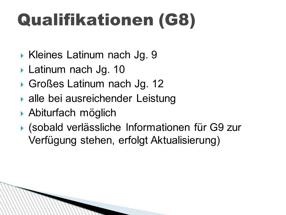  Kleines Latinum nach Jg.9  Latinum nach Jg. 10  Großes Latinum nach Jg.