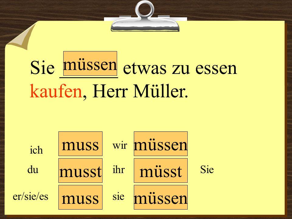 muss müssen wir du er/sie/es ich ihr sie müssen Sie Sie ______ etwas zu essen kaufen, Herr Müller. musstmüsst
