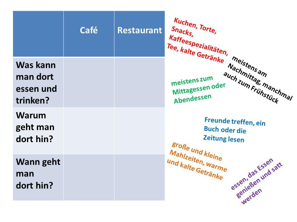 CaféRestaurant Was kann man dort essen und trinken.