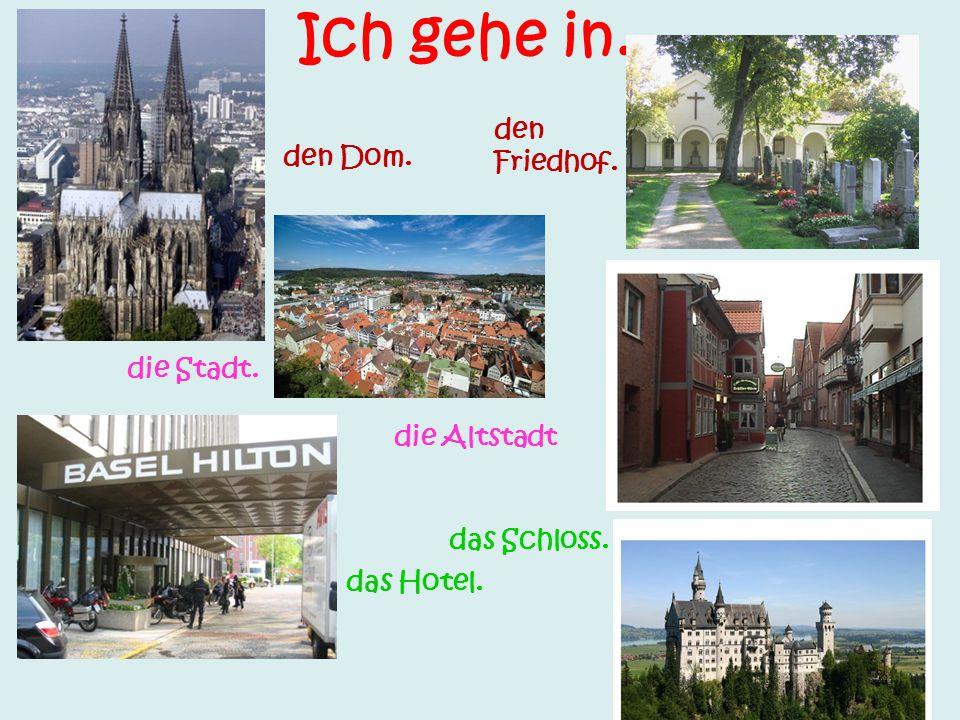 Ich gehe in..... den Dom. die Stadt. das Hotel. den Friedhof. die Altstadt das Schloss.