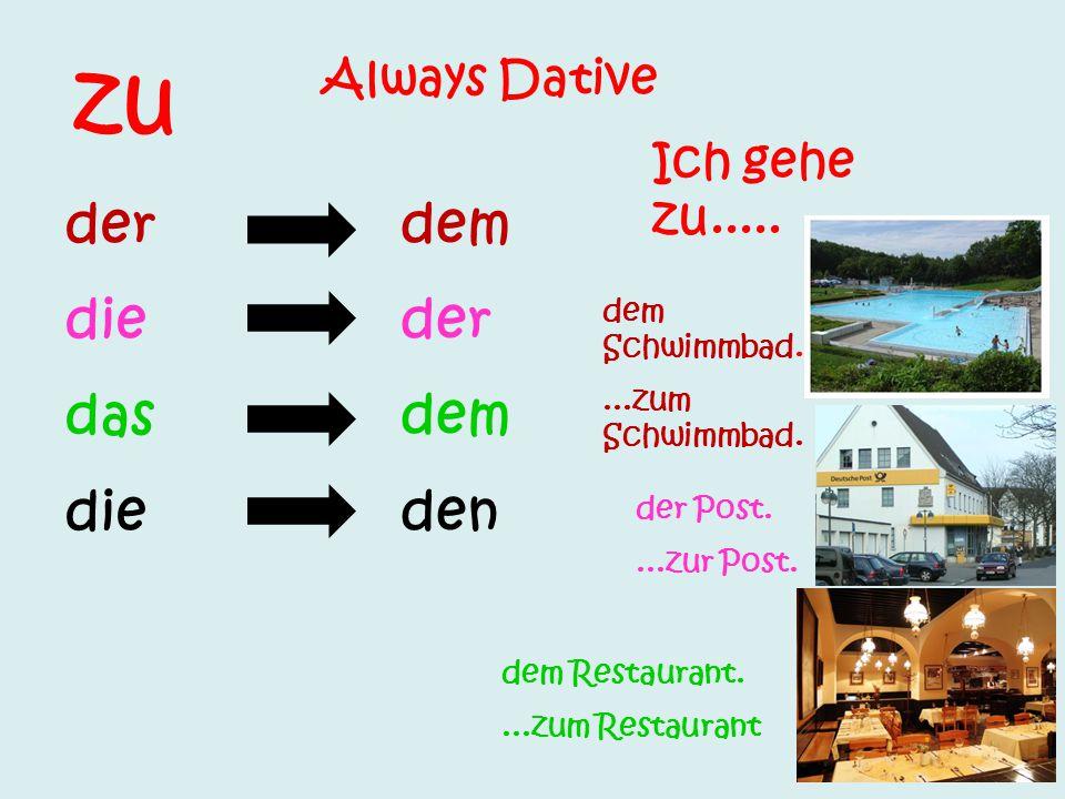 Review : In + accusativ (den, die, das, die) Zu + dativ (dem, der, dem, den in den....