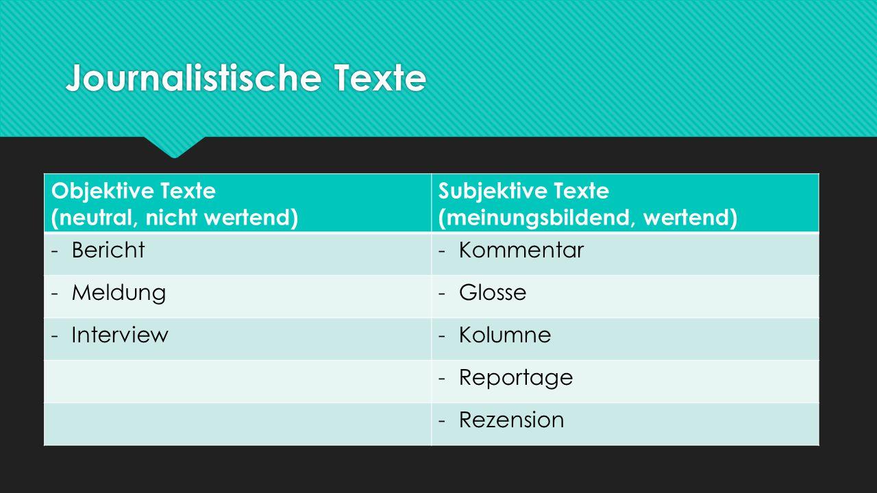 Journalistische Texte Objektive Texte (neutral, nicht wertend) Subjektive Texte (meinungsbildend, wertend) -Bericht-Kommentar -Meldung-Glosse -Intervi