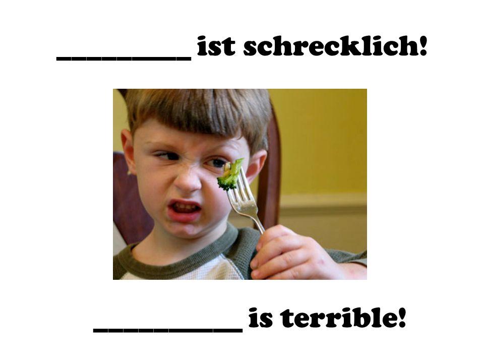 _________ ist schrecklich! __________ is terrible!