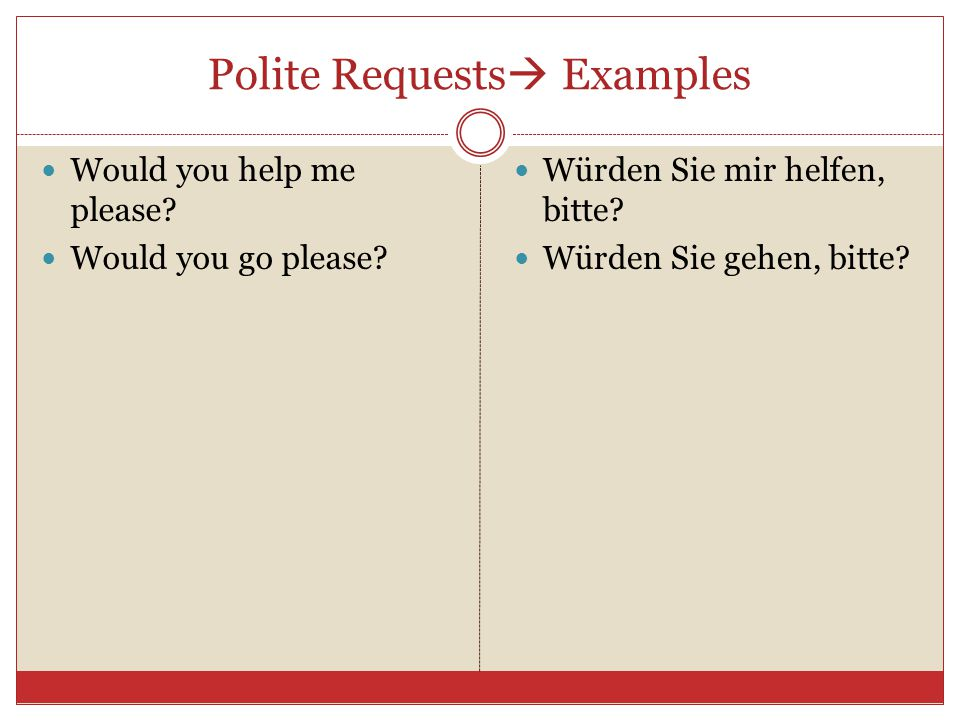 Polite Requests  Examples Would you help me please.