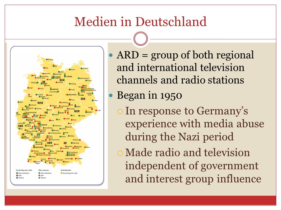 Medien in Deutschland Like in the U.S., the media play a large role in shaping modern day German society  Provides entertainment  Provides national and international news  Molds opinions  Influences viewers