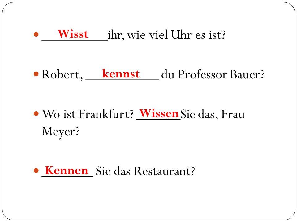 _________ihr, wie viel Uhr es ist? Robert, __________ du Professor Bauer? Wo ist Frankfurt? ______Sie das, Frau Meyer? _______ Sie das Restaurant? Wis