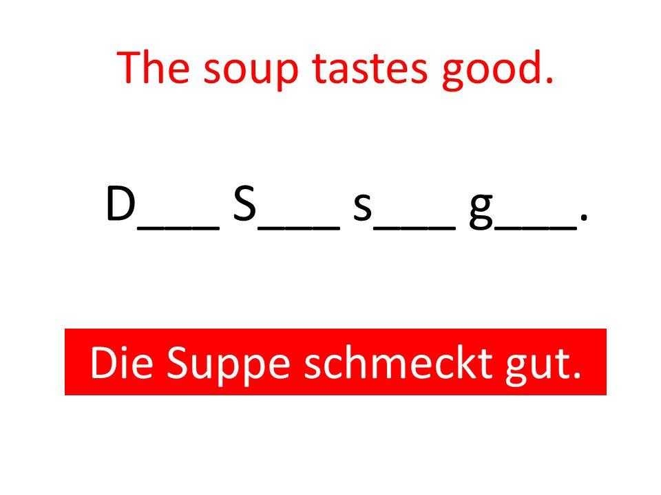 The soup tastes good. Die Suppe schmeckt gut. D___ S___ s___ g___.