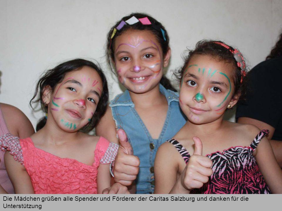 Die Mädchen grüßen alle Spender und Förderer der Caritas Salzburg und danken für die Unterstützung