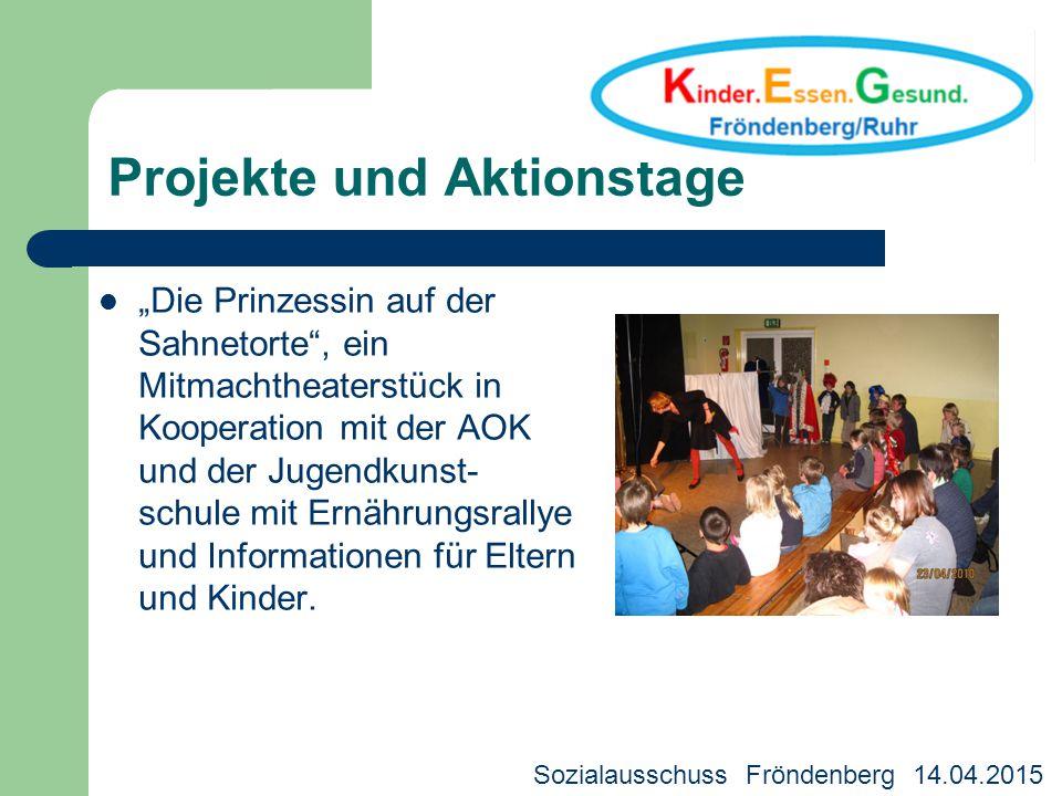 """Projekte und Aktionstage """"Die Prinzessin auf der Sahnetorte"""", ein Mitmachtheaterstück in Kooperation mit der AOK und der Jugendkunst- schule mit Ernäh"""