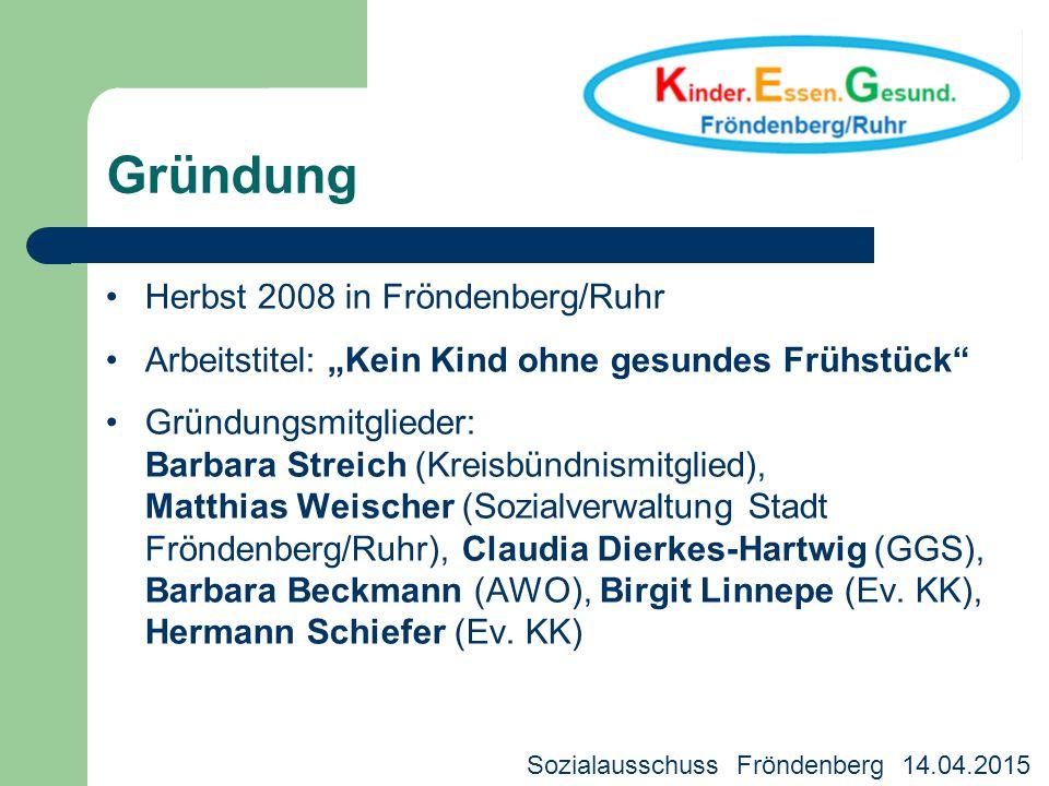 """Gründung Herbst 2008 in Fröndenberg/Ruhr Arbeitstitel: """"Kein Kind ohne gesundes Frühstück"""" Gründungsmitglieder: Barbara Streich (Kreisbündnismitglied)"""