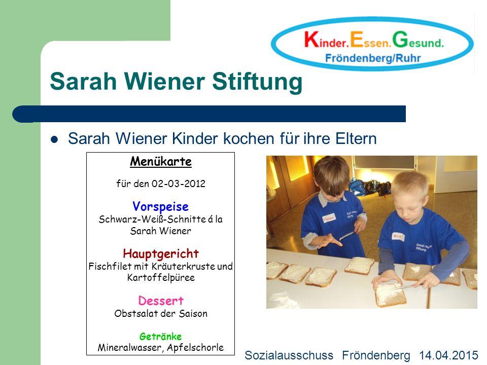 Sarah Wiener Stiftung Sarah Wiener Kinder kochen für ihre Eltern Menükarte für den 02-03-2012 Vorspeise Schwarz-Weiß-Schnitte á la Sarah Wiener Hauptg