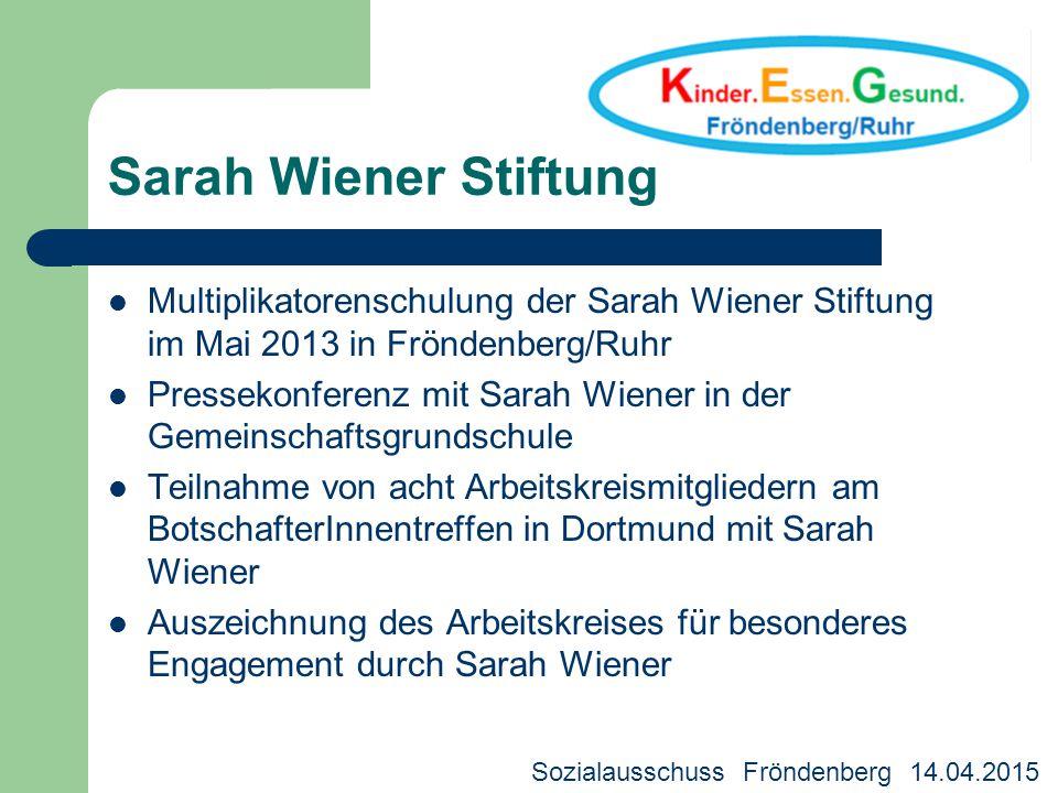 Multiplikatorenschulung der Sarah Wiener Stiftung im Mai 2013 in Fröndenberg/Ruhr Pressekonferenz mit Sarah Wiener in der Gemeinschaftsgrundschule Tei